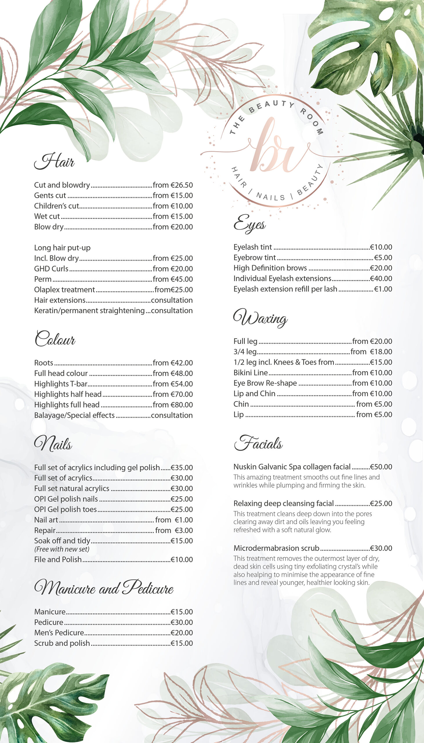 the beauty room price list